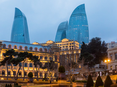 The Flame Towers at night, in Baku, Azerbaijan.